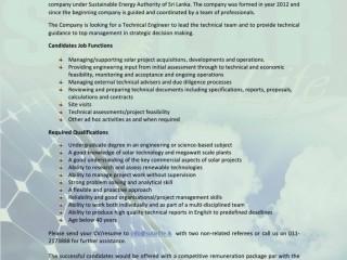 Vacancies for Technical Engineer & Business Development officer